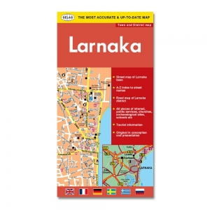 Road & Tourist Map of Larnaka Town & District In English