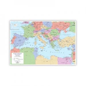Political Wall Map of Mediterranean (In Greek)
